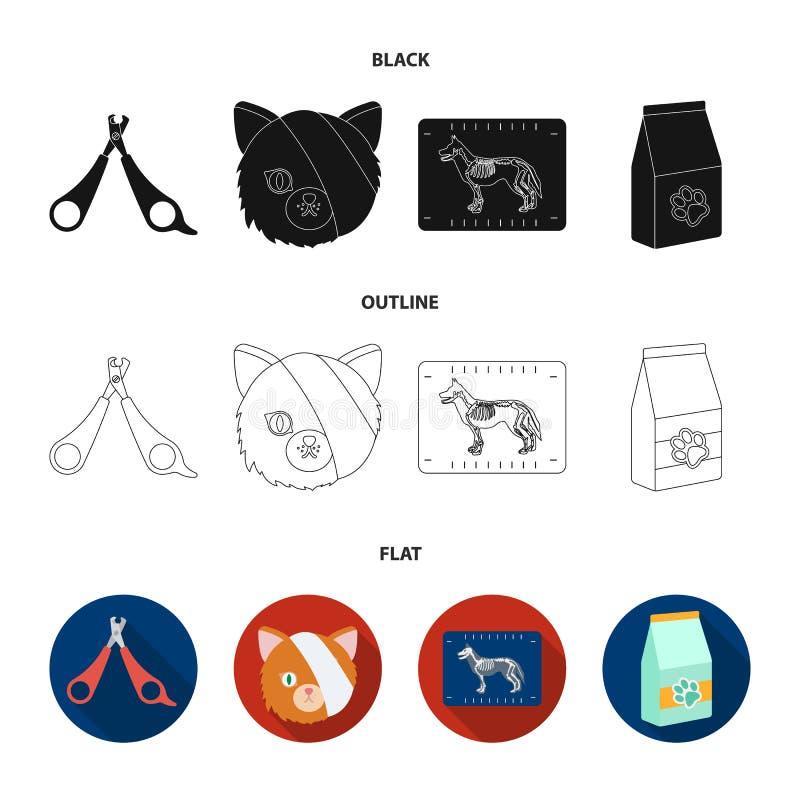 Schaar, kat, verband, gewonde Vastgestelde de inzamelingspictogrammen van de dierenartskliniek in zwarte, vlak, vector het symboo vector illustratie