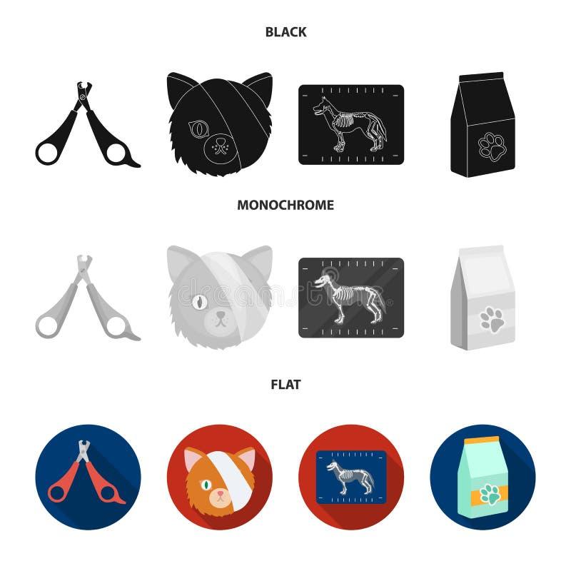 Schaar, kat, verband, gewonde Vastgestelde de inzamelingspictogrammen van de dierenartskliniek in de zwarte, vlakke, zwart-wit vo stock illustratie