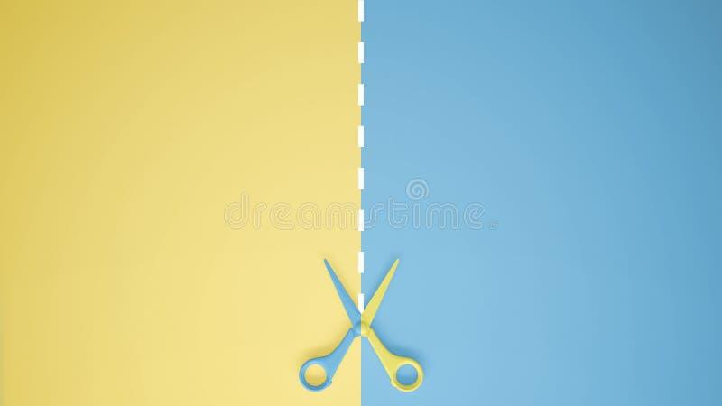 Schaar met gesneden lijnen op pastelkleur gele en blauwe gekleurde achtergrond met exemplaarruimte, het conceptenidee van het mal royalty-vrije illustratie