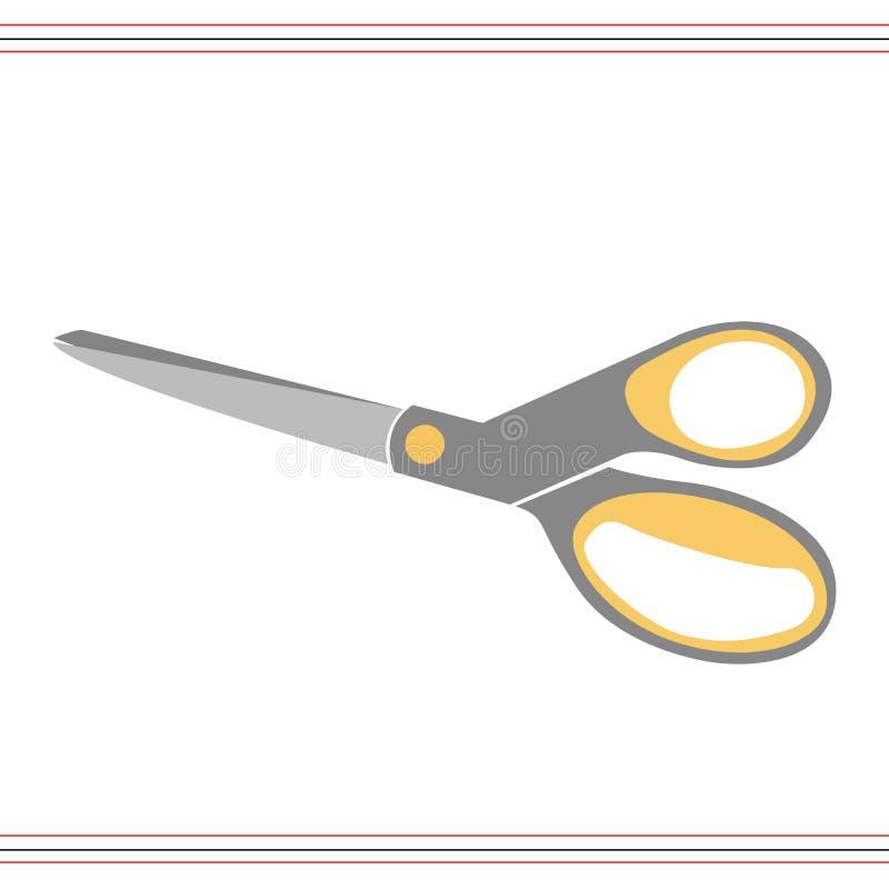 Schaar vectordiepictogram op witte achtergrond, het concept van het Schaarembleem wordt geïsoleerd royalty-vrije illustratie