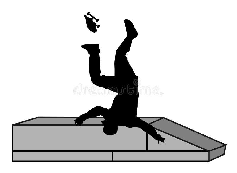 Schaatserdalingen op de straat Verwond atletenongeval Skateboarder vectorsilhouet royalty-vrije illustratie