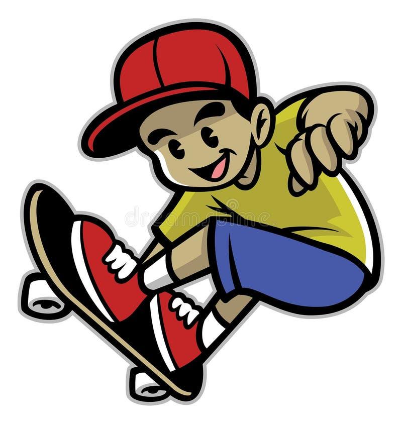 Schaatserjongen het spelen skateboard royalty-vrije illustratie