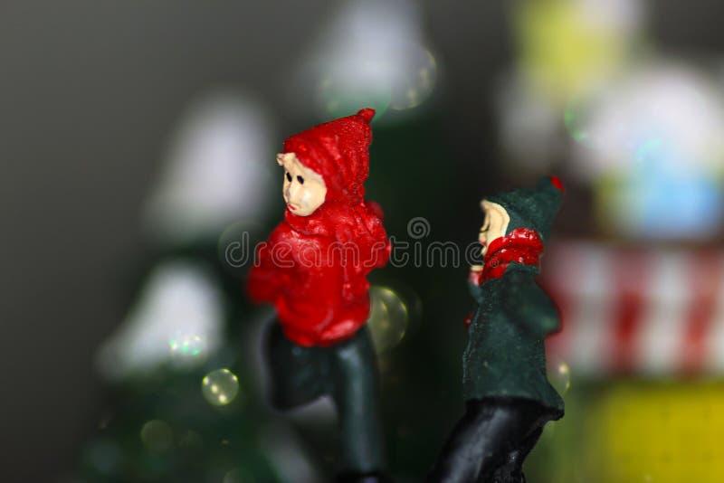 Schaatsers op de Kerstmiscarillon royalty-vrije stock foto's