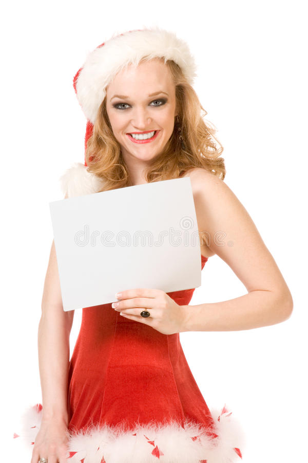 Schablone - aufgeregter Stift herauf Mrs Weihnachtsmann lizenzfreie stockfotografie