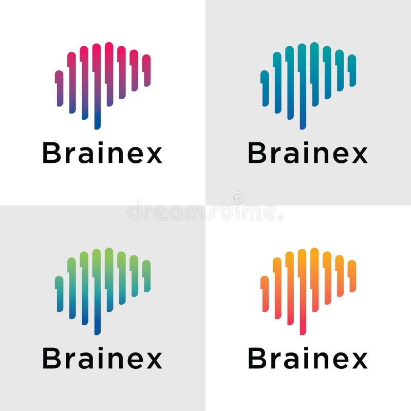 Schablone Brain Logos lizenzfreie abbildung
