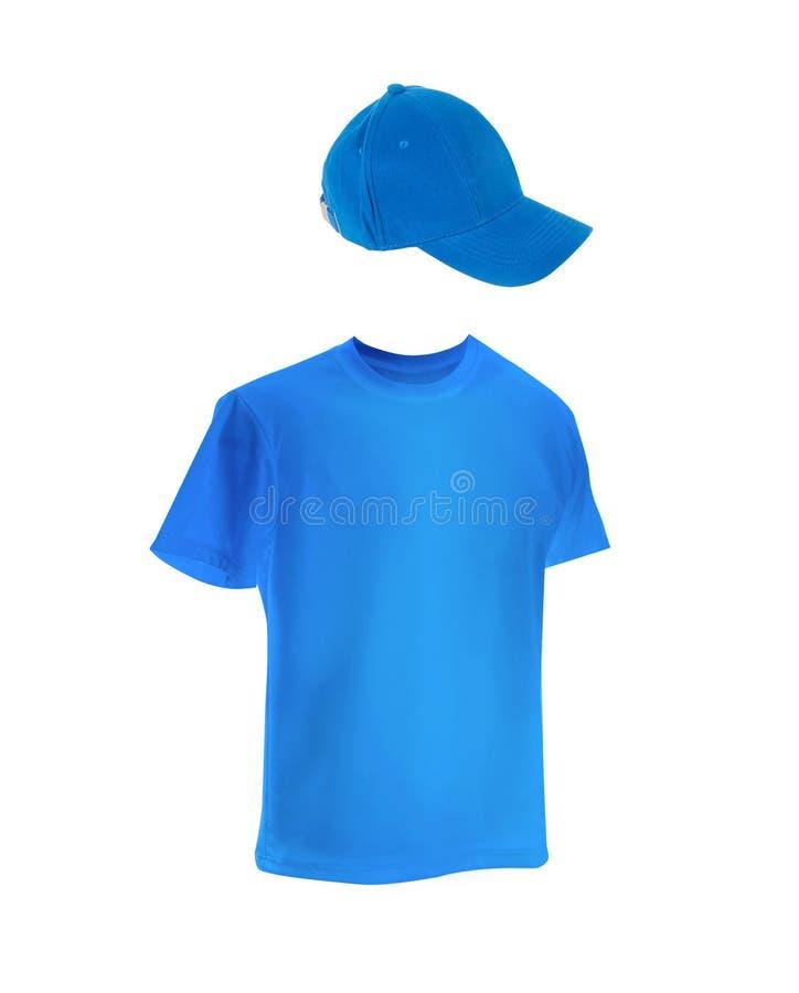 Schablone das T-Shirt der Männer mit einer Kappe stockbilder