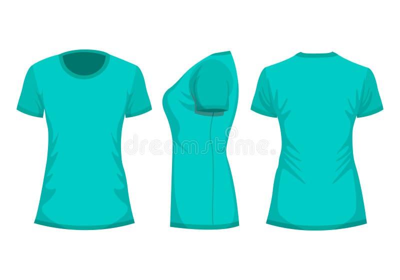 Schablone das T-Shirt der Türkisfrau in der Front, in der Rückseite und in den Seitenansichten stock abbildung