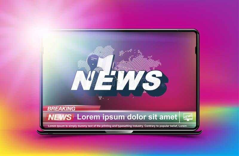 Schablone der Fahnen-letzten Nachrichten im realistischen Laptop auf Farbhintergrund Konzept für Schirm Fernsehkanal Flacher Illu vektor abbildung