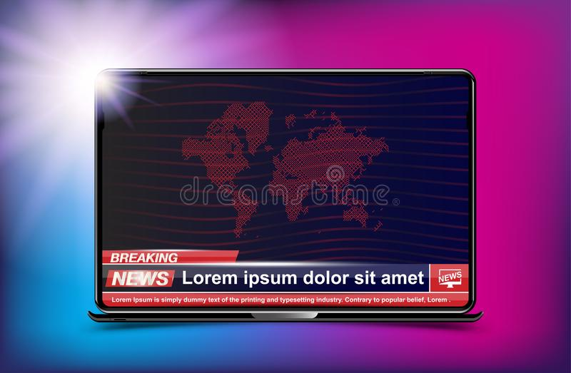 Schablone der Fahnen-letzten Nachrichten im realistischen Laptop auf Farbhintergrund Konzept für Schirm Fernsehkanal Flacher Illu lizenzfreie abbildung