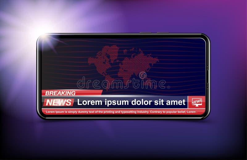 Schablone der Fahnen-letzten Nachrichten im realistischen Smartphone auf dunklem Hintergrund Konzept für Schirm Fernsehkanal Flac vektor abbildung