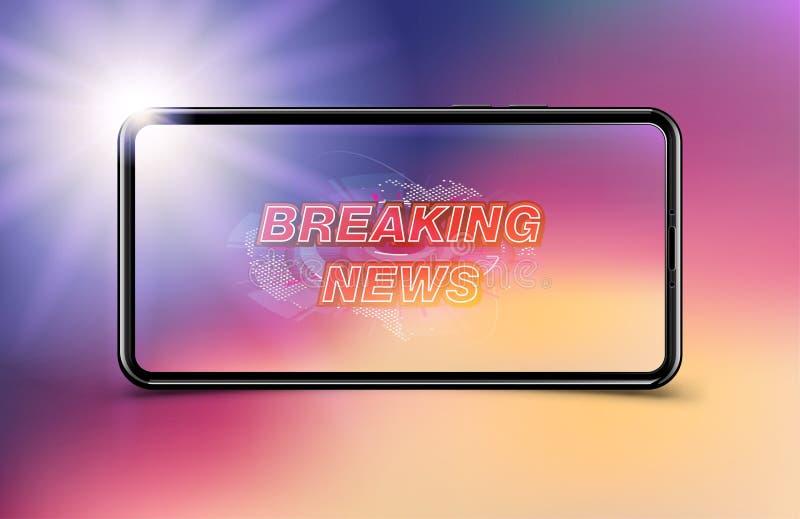 Schablone der Fahnen-letzten Nachrichten im realistischen Smartphone auf dunklem Hintergrund Konzept für Schirm Fernsehkanal Flac lizenzfreie abbildung