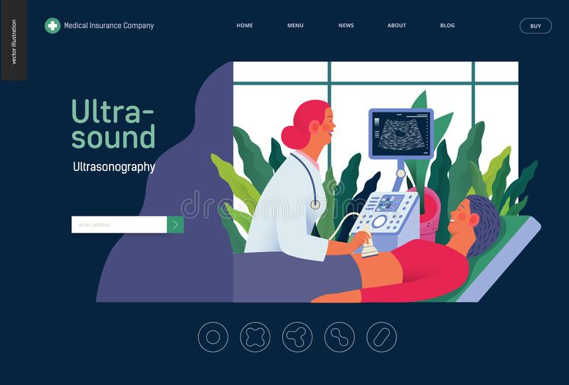 Schablone der medizinischen Tests - ultrosound lizenzfreie abbildung