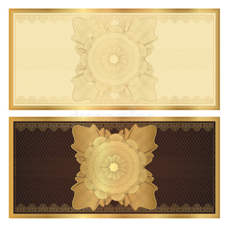 Schablone des Belegs (Geschenkgutschein). Goldmuster vektor abbildung
