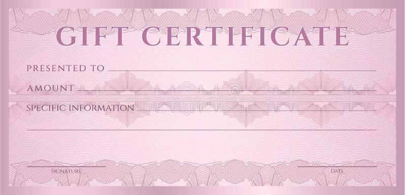 Schablone des Geschenkgutscheins (Beleg, Kupon) lizenzfreie abbildung
