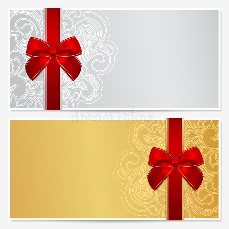 Schablone des Geschenkgutscheins (Beleg, Kupon) stock abbildung