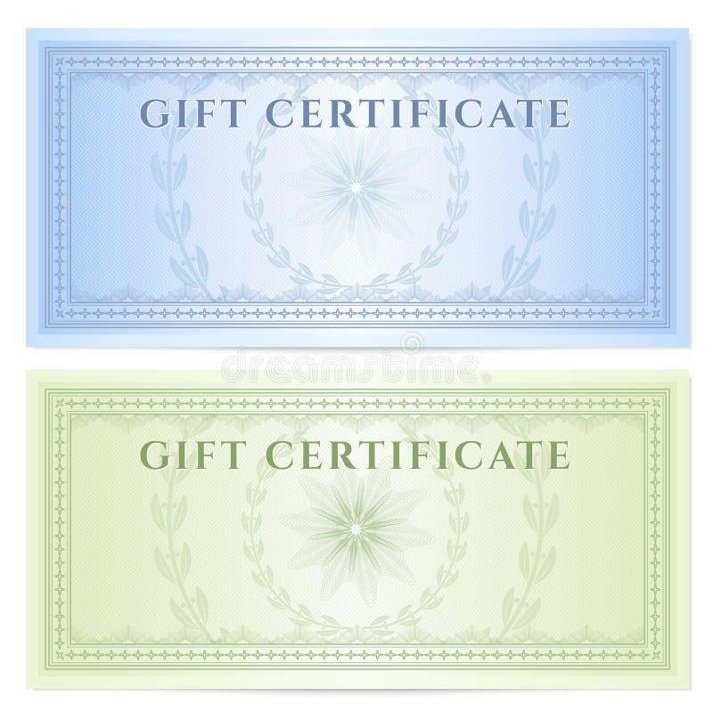 Schablone des Geschenkgutscheins (Beleg) mit Muster lizenzfreie abbildung