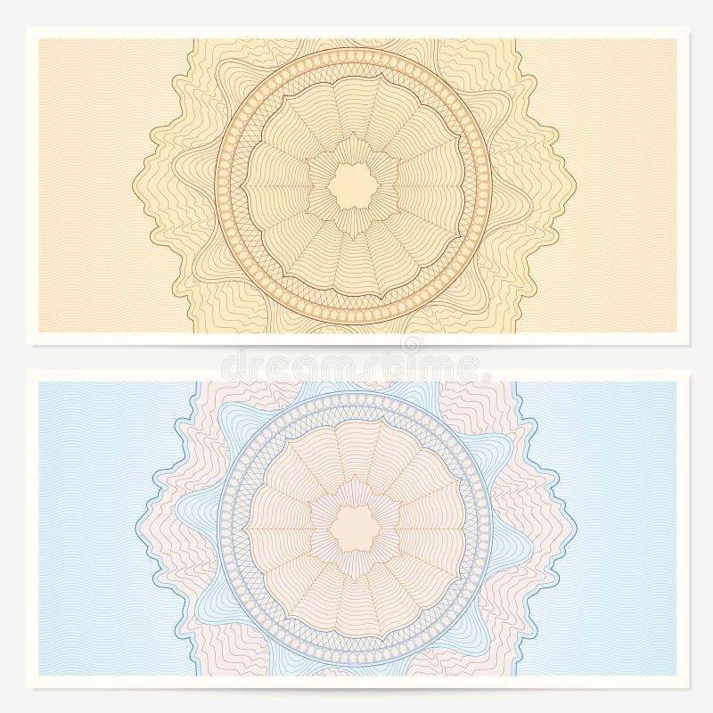 Schablone des Geschenkgutscheins (Beleg) mit Muster vektor abbildung