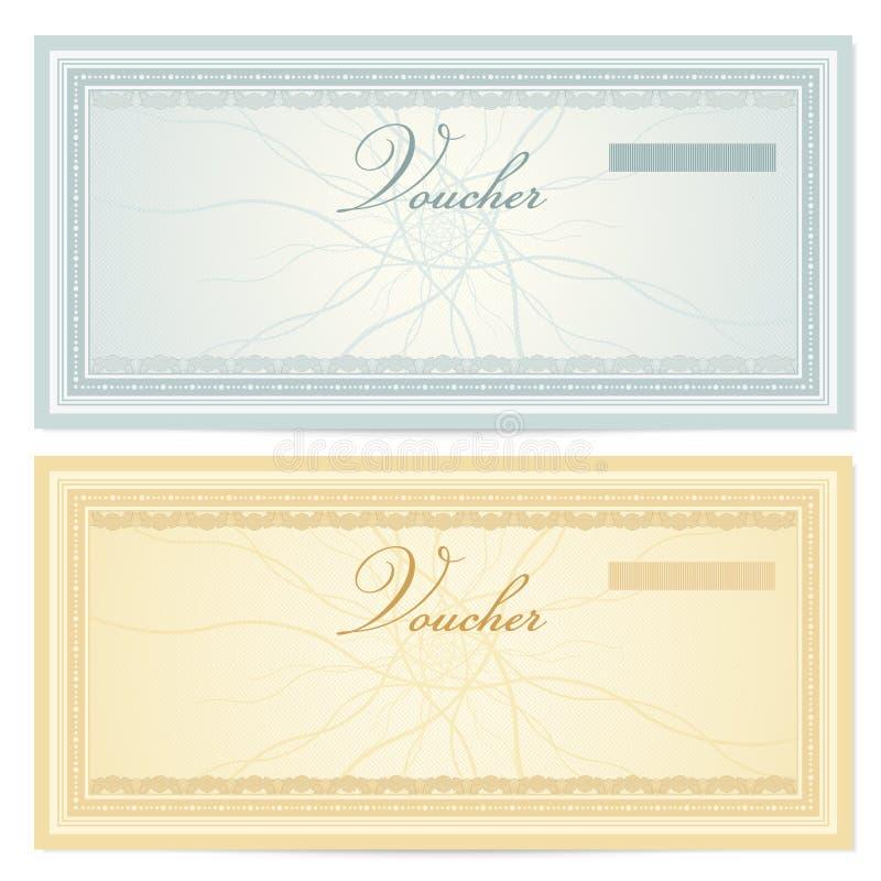 Schablone des Geschenkgutscheins (Beleg). Muster stock abbildung