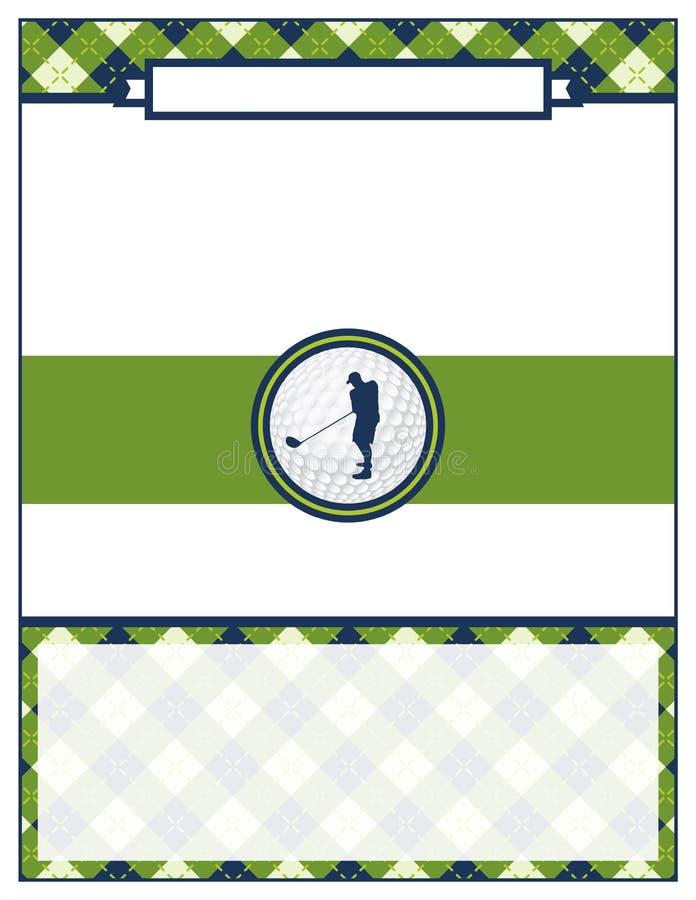 Schablone des Golf-Turnier-Flieger-freien Raumes vektor abbildung