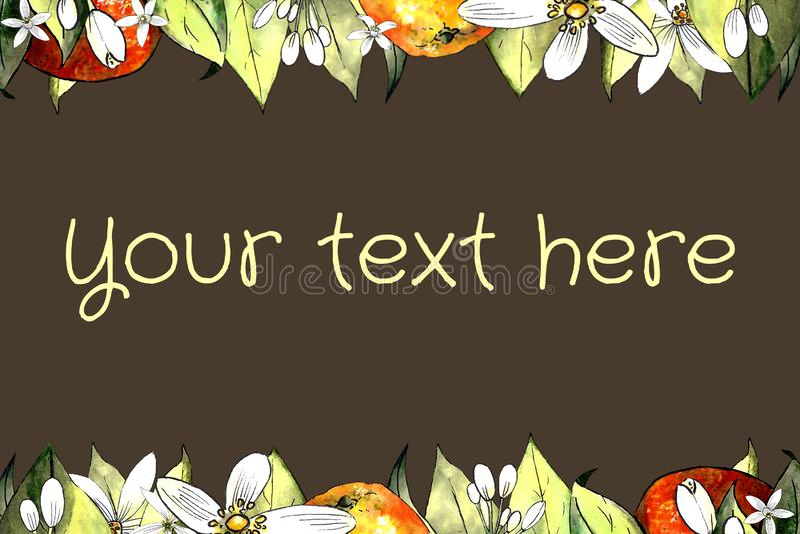 Schablone des Handabgehobenen betrages der Mandarine, der Blätter und der Blumen auf braunem Hintergrund Zeichnungsmarkierungen stockbilder