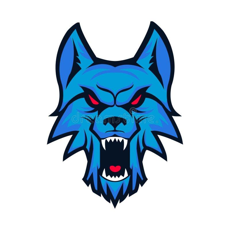 Schablone des Logos mit verärgertem Wolfkopf Emblem für Sportteam MA stock abbildung