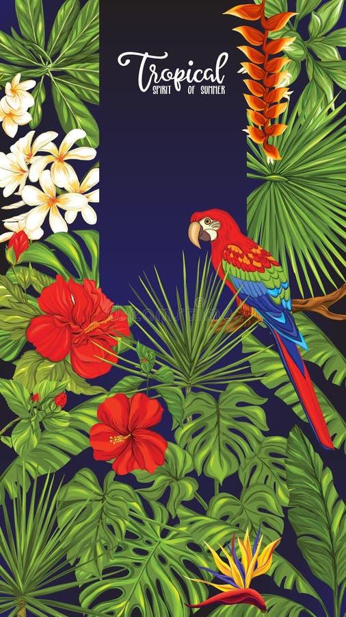 Schablone des Plakats, der Fahne, der Postkarte mit tropischen Blumen und der Anlagen und des Vogels vektor abbildung