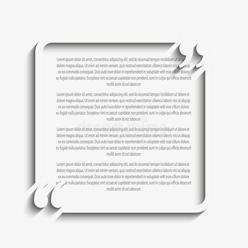 Schablone Des Vektor-Zitat-Quadrat-freien Raumes Halter Vektor ...