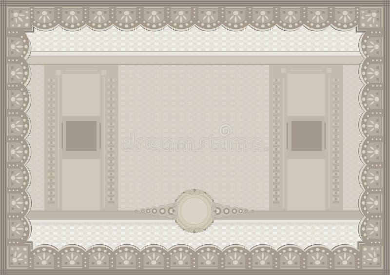 Schablone des Zertifikatbelegkupon-Papiers A4 stock abbildung