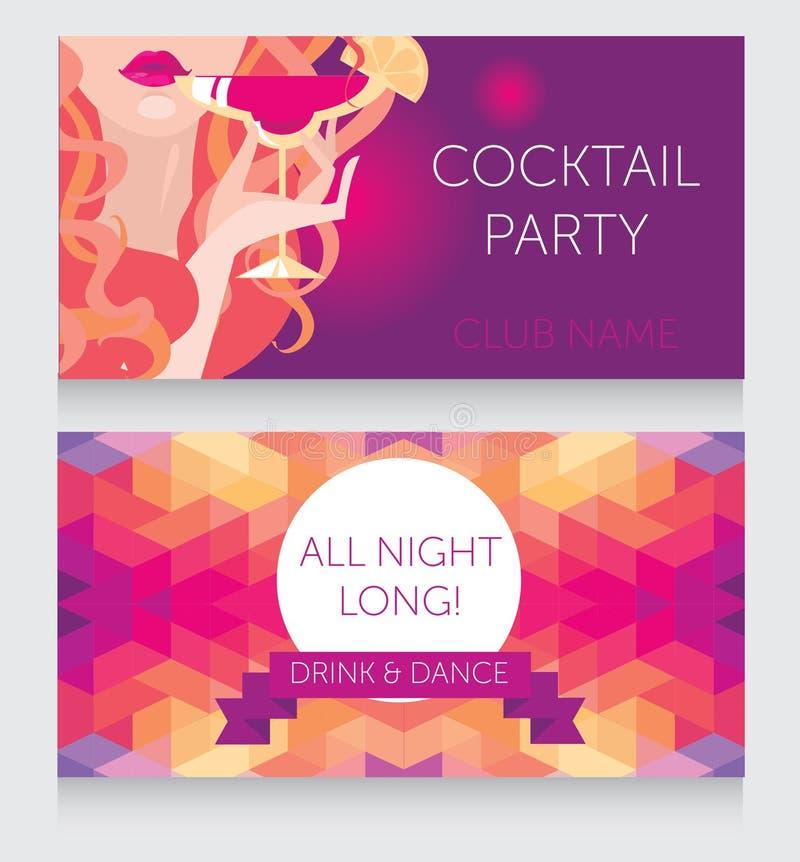 Schablone für Damennachtpartei mit schönes Mädchen trinkendem Margarita lizenzfreie abbildung