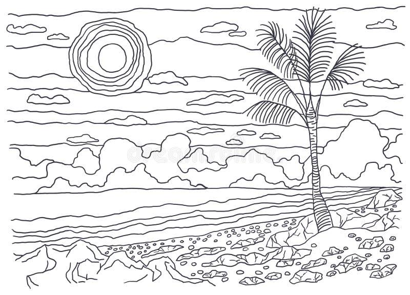 Schablone für die Färbung Einsame Palme stock abbildung
