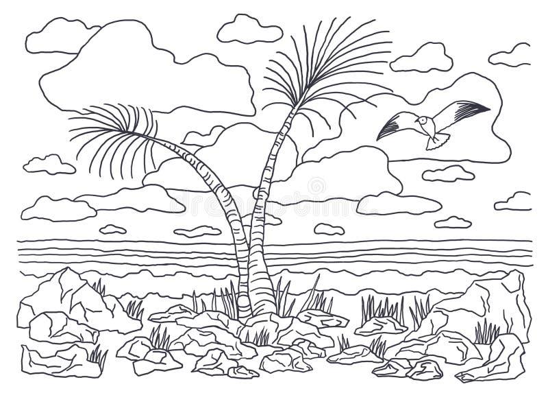 Schablone für die Färbung Farbton-Bildlandschaft mit Palmen und Seemöwen stock abbildung