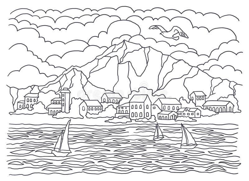 Schablone für die Färbung Seefarbton Landschaftsmalerei Meer, Wellen, Ruhe, Segelboote, Küste, Häuser, Bäume und Büsche, moun stock abbildung