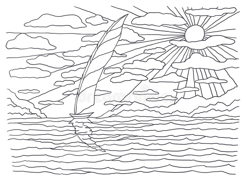Schablone für die Färbung Seefarbton Landschaftsmalerei Segelboot im Meer, Sonne, Strahlen, Licht, Hitze, Wolken, Ufer stock abbildung