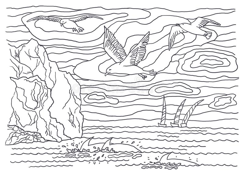 Schablone für die Färbung Seemöwen und Delphine stock abbildung