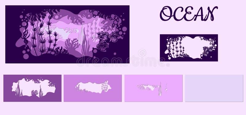 Schablone für die Herstellung einer Lampe oder der Postkarte Vektorbild für Laser-Ausschnitt und Plotterdrucken Fauna mit Meerest lizenzfreie abbildung