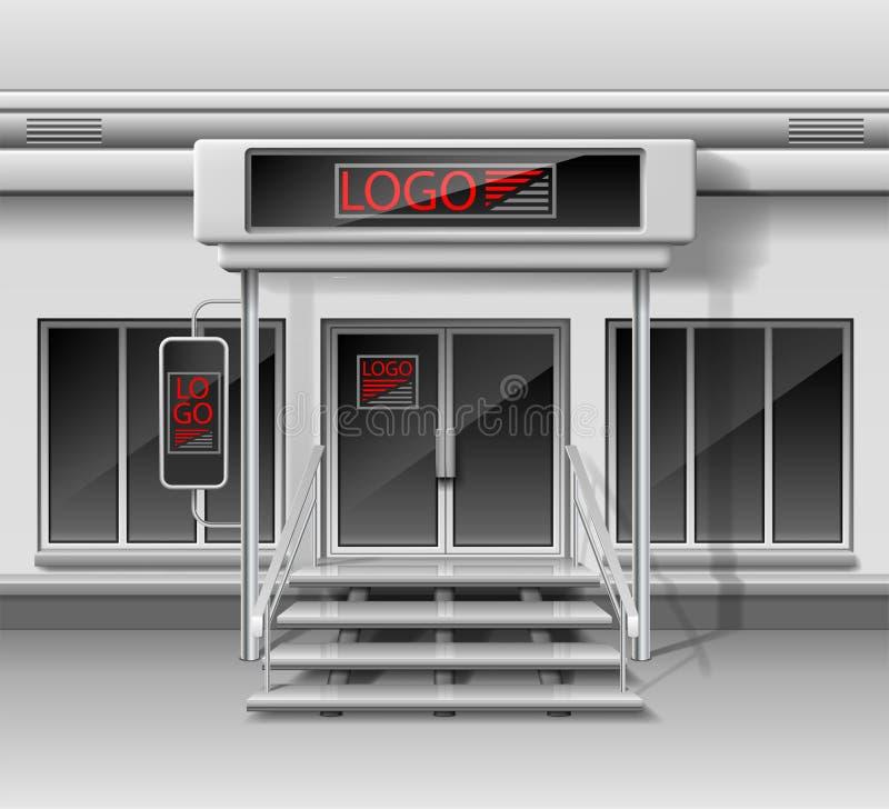 Schablone für die Werbung der Außenfassade des Speichers 3d Shop außen mit Tür, Unternehmensidentitä5 Leeres Modell des Schaufens lizenzfreie abbildung