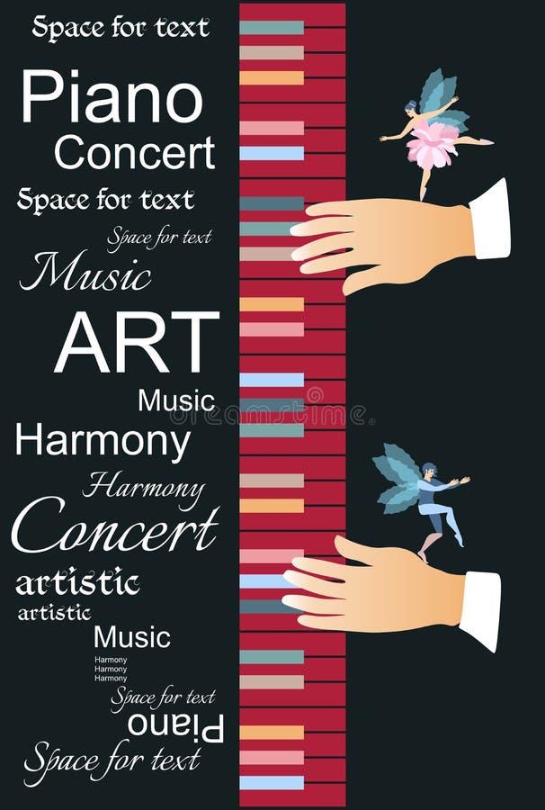 Schablone für ein schönes musikalisches Plakat mit abstraktem Text, mehrfarbige Tastatur und kleine geflügelte Fee und Elfe stock abbildung