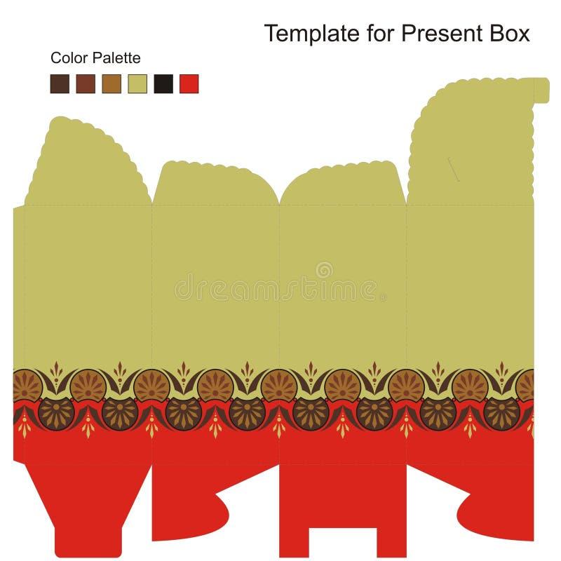 Schablone für Geschenk-Kasten stock abbildung