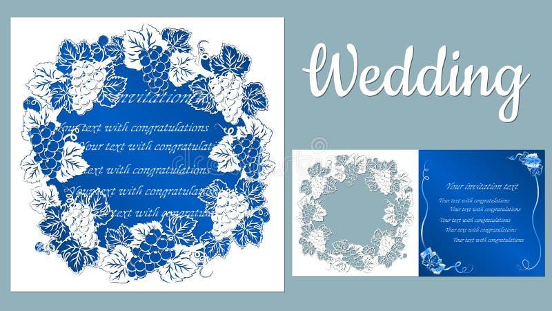 Schablone für Laser-Ausschnitt, Plotter und Silkscreendrucken rebe traube Aufschrift-Hochzeit stock abbildung