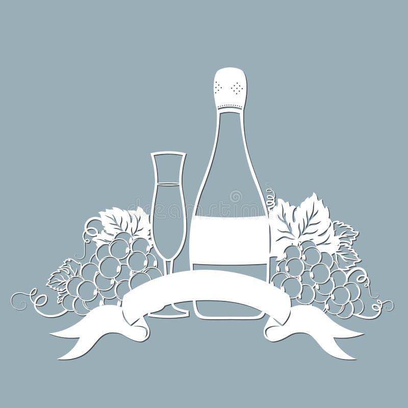 Schablone für Laser-Ausschnitt, Plotter und Silkscreendrucken rebe traube Eine Flasche Champagner und Glas vektor abbildung