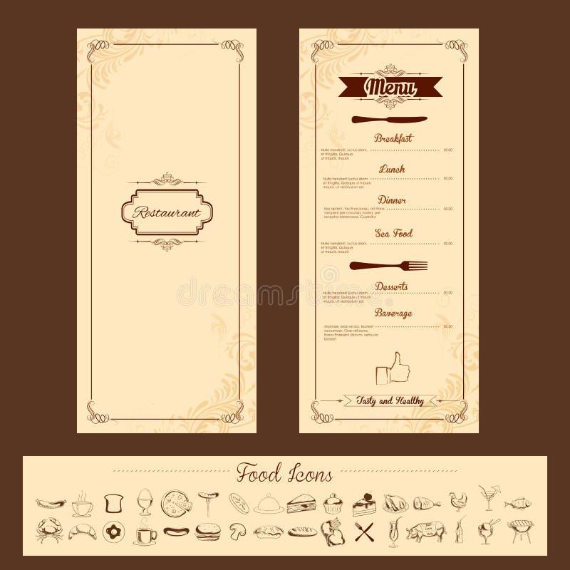 Schablone für Menü-Karte vektor abbildung. Illustration von ...