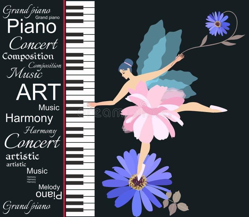 Schablone für musikalische Fahne mit dem abstrakten Text, Blumen und nettem kleinem feenhaftem Mädchen, die auf Klaviertastatur s lizenzfreie abbildung
