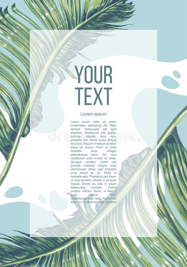 Schablone für Plakat- oder Anzeigenfahne mit großen Blättern der Bananenpalme und Platz für Ihren Text stock abbildung