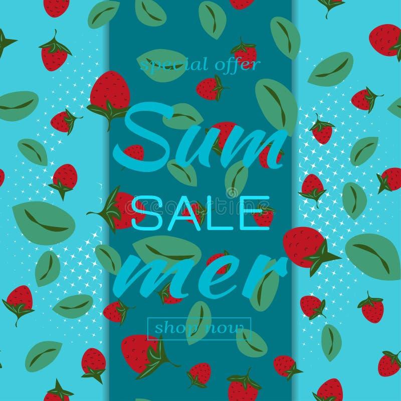 Schablone für Sommerschlussverkäufe Muster mit Erdbeeren und Blättern des blauen Hintergrundes Auch im corel abgehobenen Betrag lizenzfreie abbildung