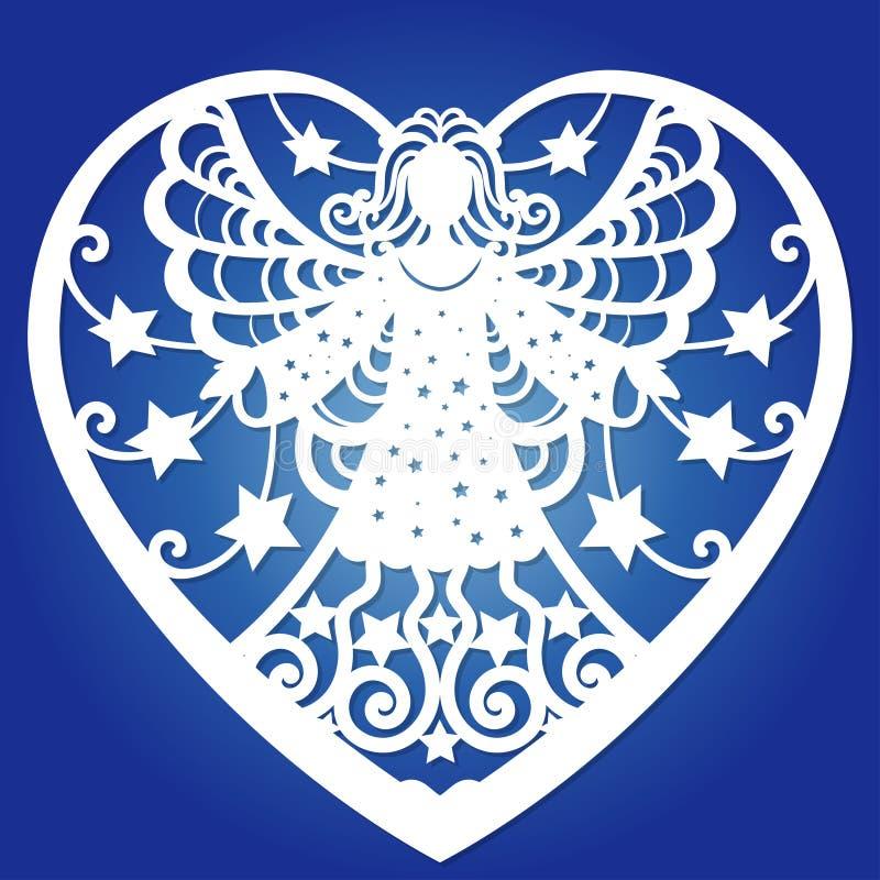 Schablone f?r Laser-Ausschnitt Engel in einem Rahmen in Form eines Herzens Vektor stock abbildung