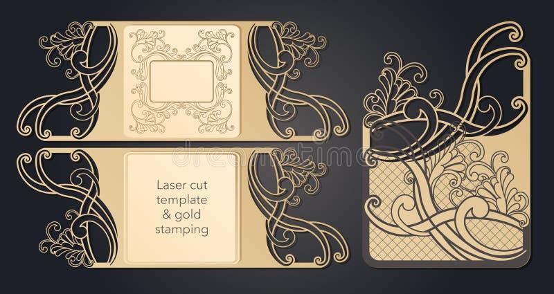 Schablone f?r Laser-Ausschnitt Openwork Plan des festlichen Umschlags, eine Postkarte f?r Ihren Text, ein Aufkleber, eine Anmerku vektor abbildung