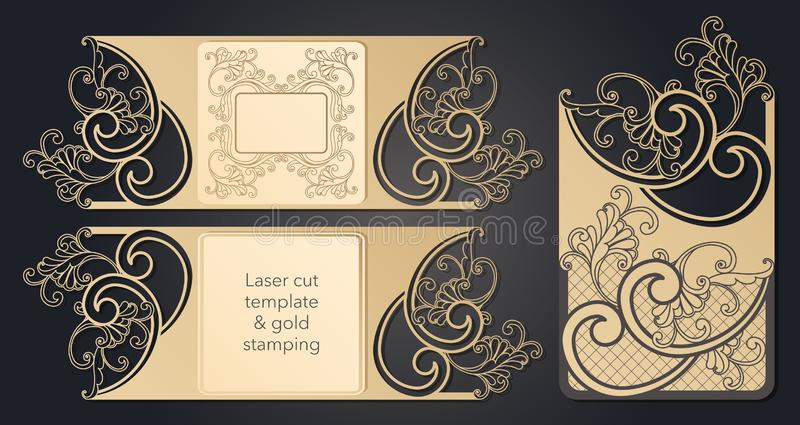 Schablone f?r Laser-Ausschnitt Openwork Plan des festlichen Umschlags, eine Postkarte f?r Ihren Text, ein Aufkleber, eine Anmerku stock abbildung