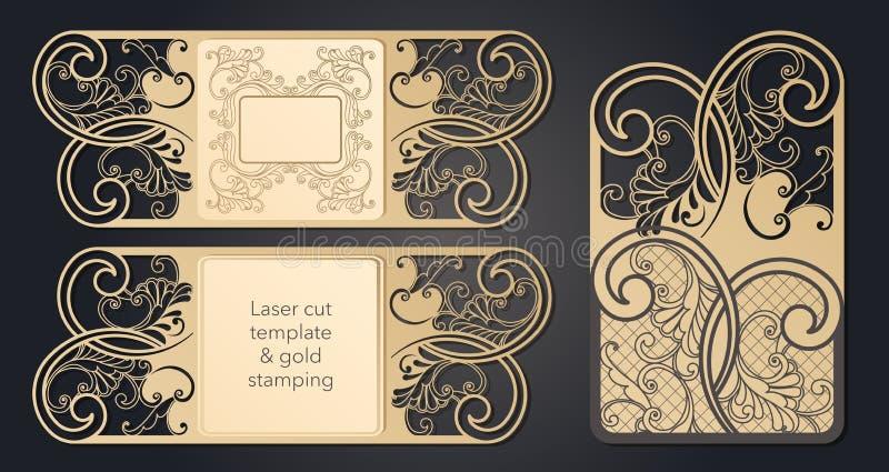 Schablone f?r Laser-Ausschnitt Openwork Plan des festlichen Umschlags, eine Postkarte f?r Ihren Text, ein Aufkleber, eine Anmerku lizenzfreie abbildung