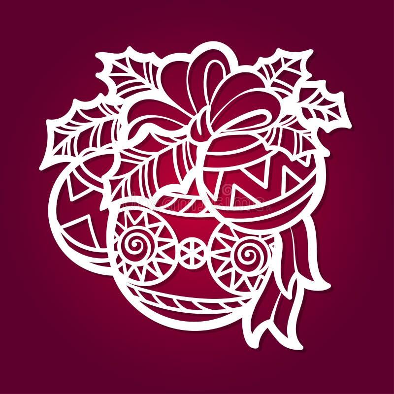 Schablone f?r Laser-Ausschnitt Weihnachtsbälle mit Bogen und Mistelzweig Vektor lizenzfreie abbildung