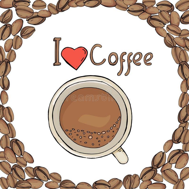 Schablone in Form eines Kreises von Kaffeebohnen mit einem Tasse Kaffee Ich mag Kaffee Vektorillustration in der Skizze vektor abbildung